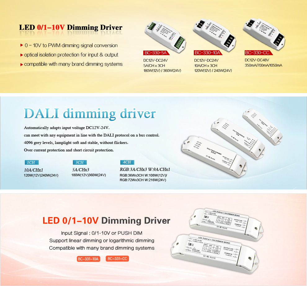 DC12V-24V 0-10v Dimming led driver/ led dimmer for led strip