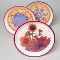 MELAMINE SERVING TRAY 11.75IN SUNFLOWER/2 MOROCCAN DESIGNS #G89909