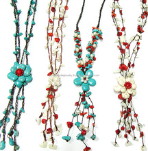 0420 HANDMADE JEWELRY Flower Set Beaded Red Coral Turquoise STONE SET Stitch Statement Necklace from THAILAND