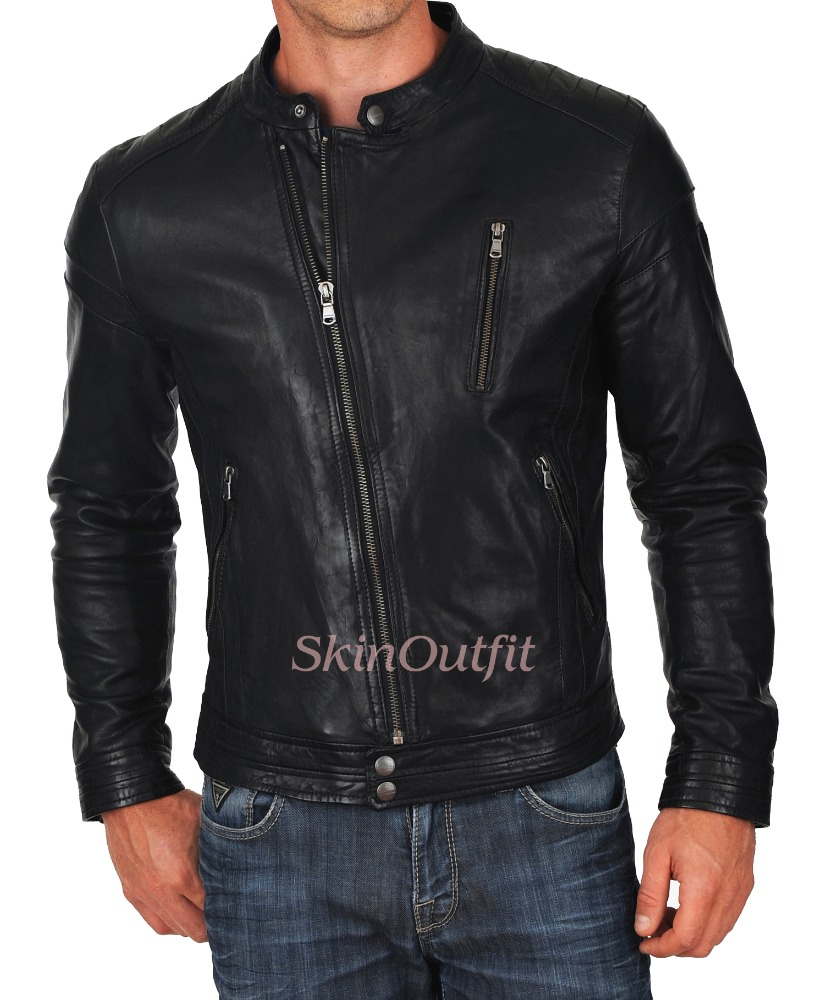 Black leather jacket for men 100% pure cow skin