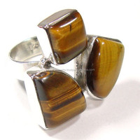 Natural stone rings Solid 925 Jewelry Tiger Stone Finger Rings 925 Sterling Silver Gemstone Rings jewelry India silver