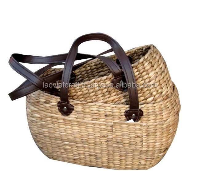High quality best selling natural water hyacinth shopping bag WITH HANDLE from vietnam