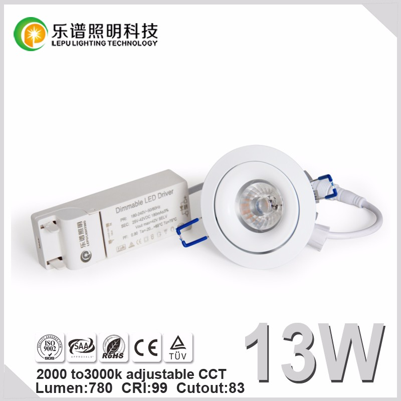 IP44 Nordic hot sell 83mm Cutout recessed 13w led downlight CCT Adjustable 2000-2800k 9w 13w 15w option
