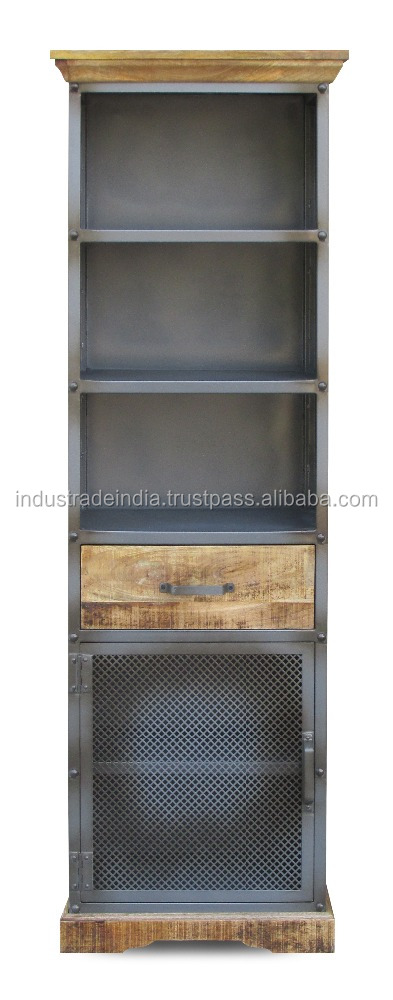 Metal & Wooden Industrial Bookcase
