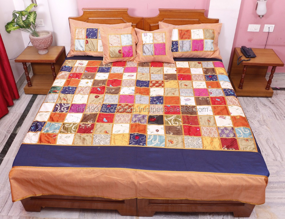 Indian Vintage 100 % Silk Jaipuri Bedsheet Hand Block Gold Print Associated Patch Work Bedspread Bed Cover Throw Blanket