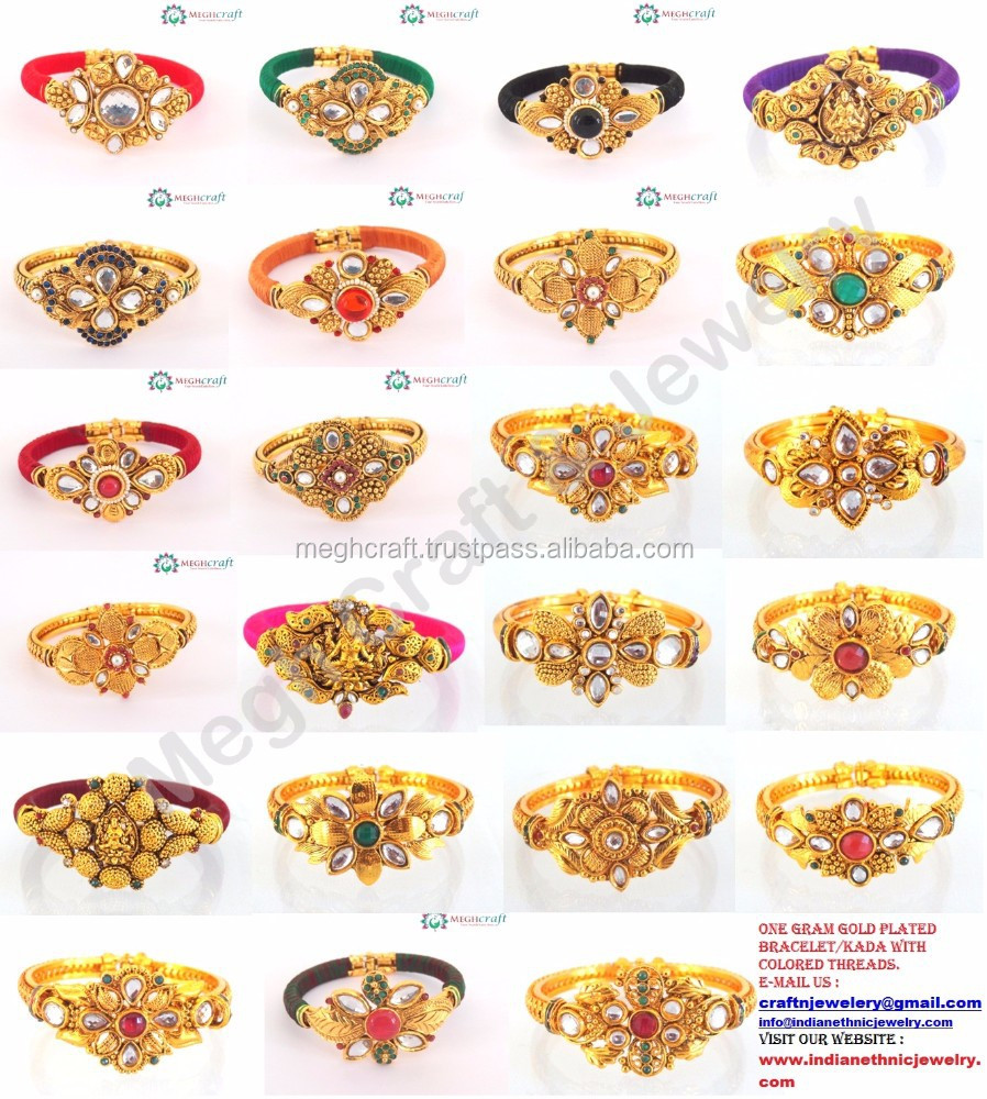 New fashion bracelets-Bollywood kundan polki bracelets -Indian ethnic bangles-Wholesale One gram gold bangles online