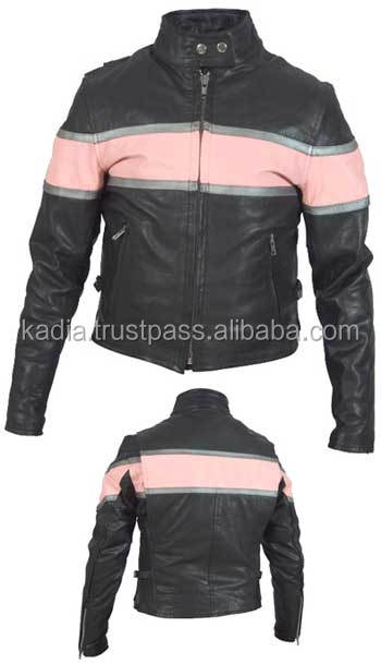 Tea pink & Black Motorbike Jacket