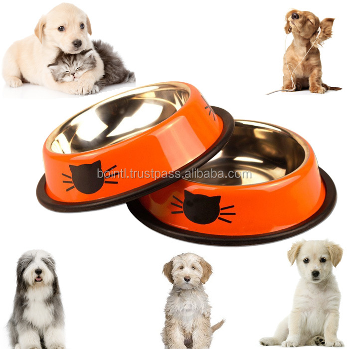 Stainless Steel Cat Bowl 8oz, No Slip for Small Dogs & Cats with Rubber Bottoms (Set of 2)