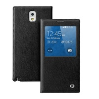 QIALINO Genuine Leather Smart View Battery Housing Case for Samsung Galaxy Note 3 - Tree Bark Pattern / Black