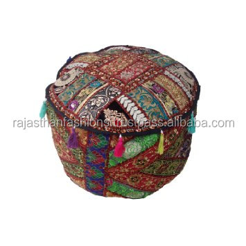 Indian Handmade Bohemian Patch Work Pouf Ottoman,Traditional vintage Indian Pouf Cover Living Room Home Decor