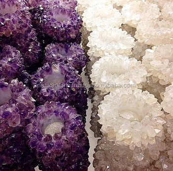 HANDMADE AMETHYST AND CRYSTAL CANDLE HOLDERS FROM BRAZIL