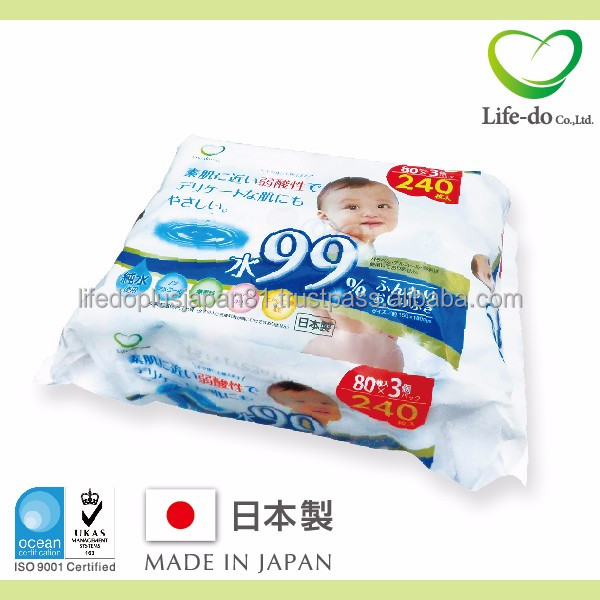 sanitary and Japanese plastic baby wipe case Baby wipes with 99% pure water and sodium hyaluronate 80 sheets /pack x 3P