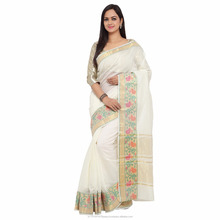 Jacquard Weaving Kanchipuram/Kanjivaram Cotton Silk Saree For Women