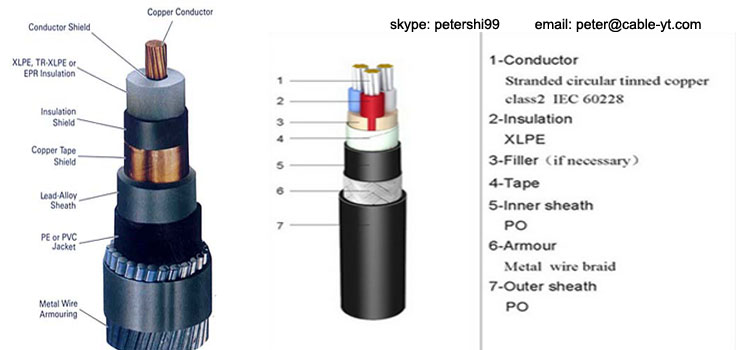 Xlpe Insulated Sta Swa Sta Armored Pe Pvc Sheathed Cable 4