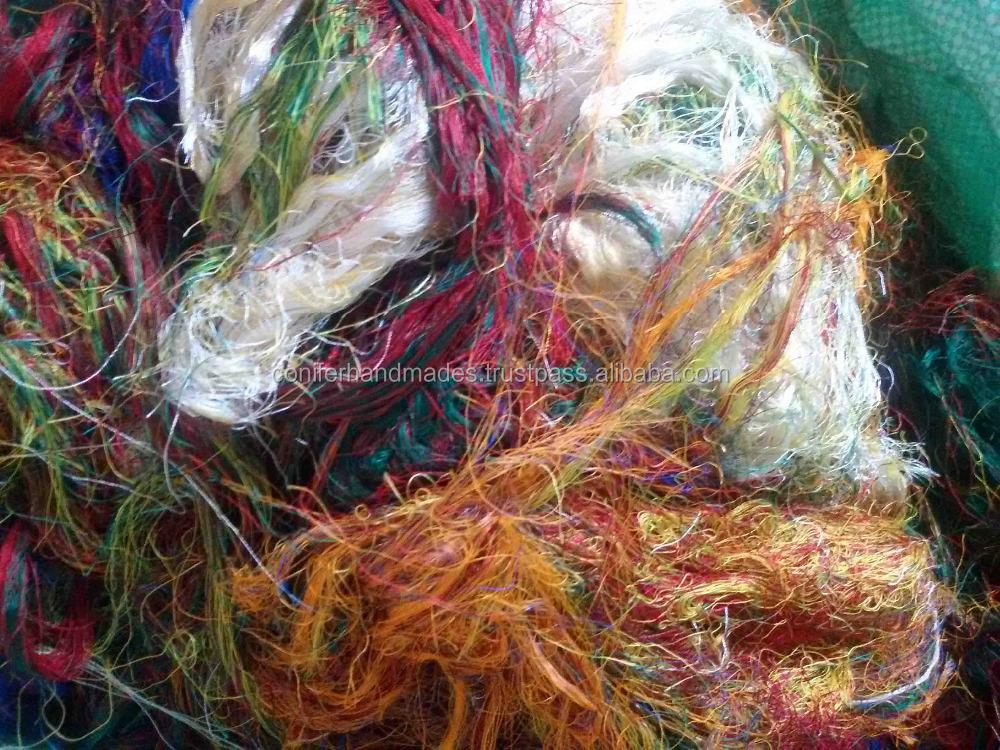 Multi Colored Sari Silk Fiber Made From Recycled Sari Silk Waste ...