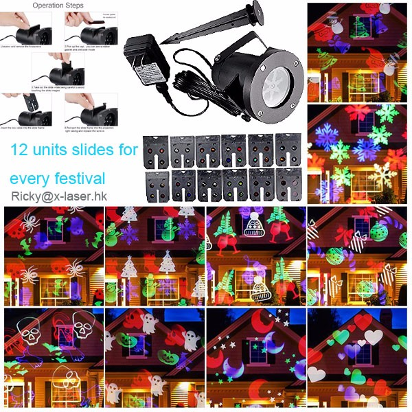 Halloween Projector, Ucharge Rotating Led Projection Light Snowflake Spotlight, Multi Slides Landscape Led Light Show