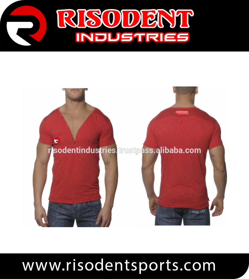 Autumn RSP High Fashion New Design Men Red short Sleeve V shirt