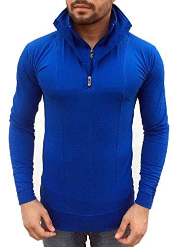 Men's Stylish Half Zip Double Flap Collar Full Sleeve T-shirt ...