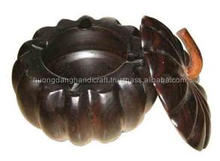 Pumpkin shape pot with lid made of nature wood / cheap price directly Vietnam manufacturer wooden pot