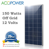 ACOPOWER 150w Polycrystalline PV Solar Panel Module with MC4 Connectors 12v Battery Charging