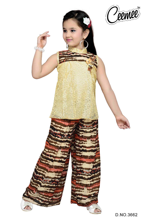 Girls Casual Dress / Beautiful Plazo Suit - Buy Little ...