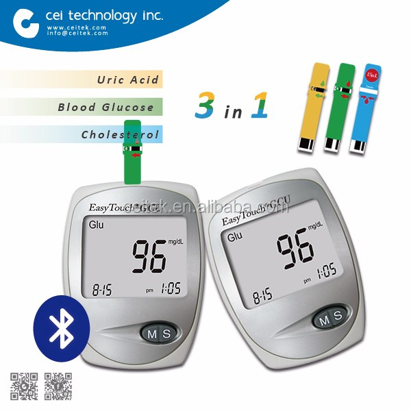 New Bluetooth 3 in 1 Blood Glucose Meter Cholesterol UricAcid Test Meter