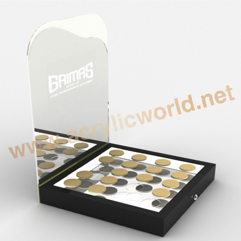 custom made POP acrylic display cosmetic product display stands , black display for cosmetic