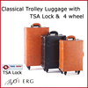 bag travel trolley carry suitcase luggage vintage TSA lock style with 4wheels