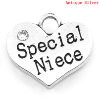 "Charm Pendants ""Special Niece"" Heart Antique Silver Clear Rhinestone 16x14mm,Hole:Approx 2.7x3mm,20PCs"