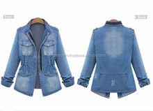Hot Fashion Casual Women Denim Trench Coat Outerwear Jean Jacket