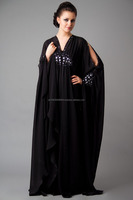 BLACK ABAYA NECK AND SLEVEES EMBROIDERY IN WHITE