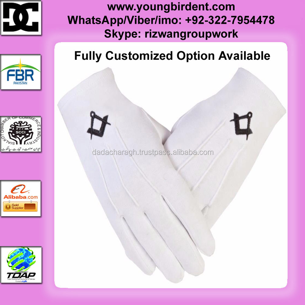MASONIC GLOVES Freemason Masonic Cotton BLACK S+C White Gloves PCI