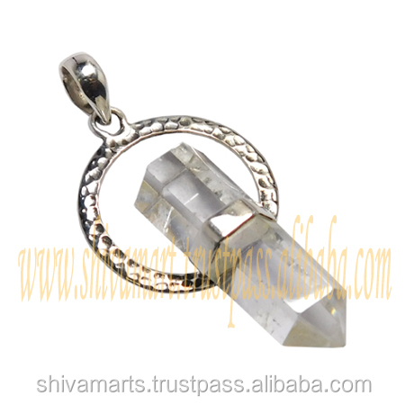 Crystal Gemstone Fashion Pencil Pendant Jewelry 925 Sterling Silver Jewellery
