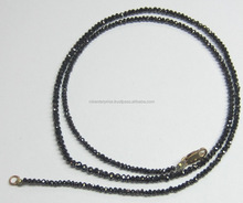 16 Carat Black Faceted Diamond Beads Necklace with 14k yellow gold Clasp