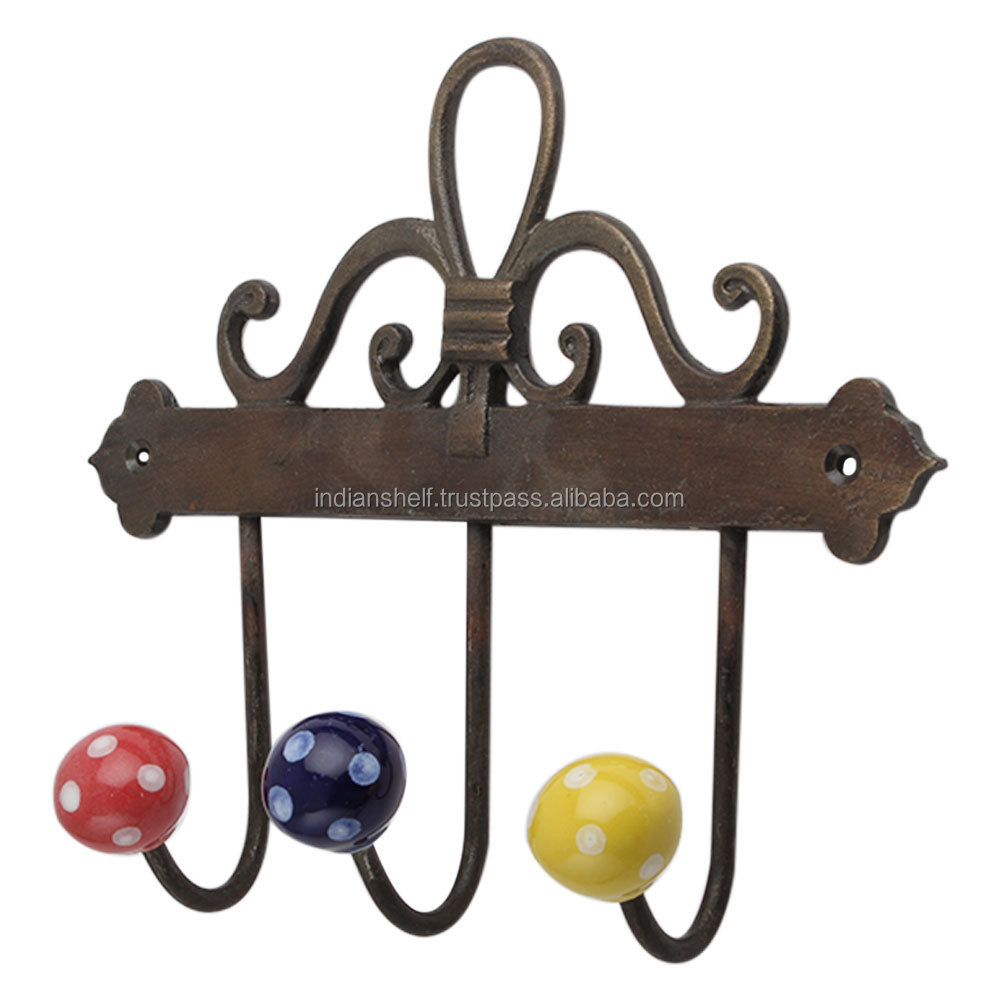 Ceramic Metal Floral Dotted Design Multicolor Vintage Indian Wall Hooks for Clothes HK-579