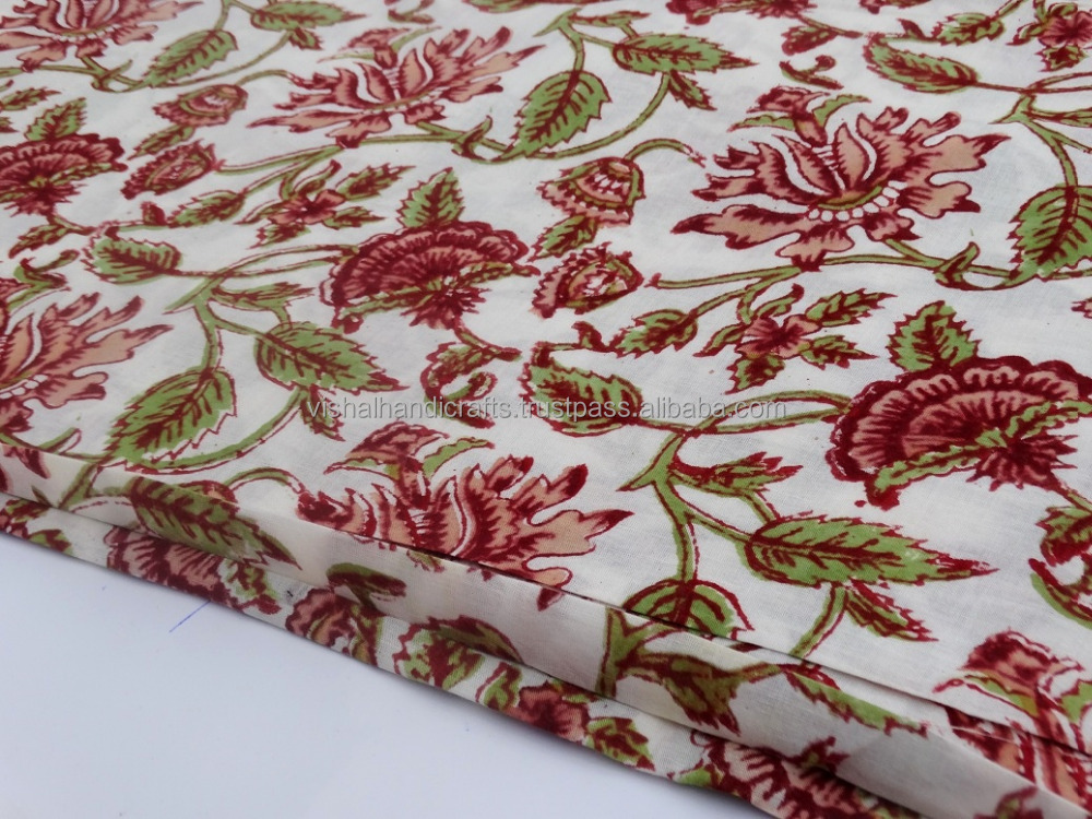 VH_Cotton Hand block Floral printed Fabric_New Designer Indian latest Block print cotton fabric