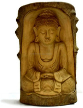 Wood Carved Statue Meditating Buddha Sculpture Indian Handicrafts Buddha Home Decor