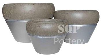 Round Glazed painted Cement pot