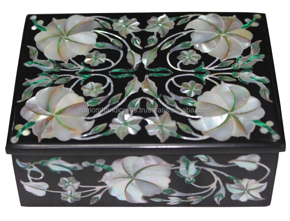 "4""x3""x2"" Black Marble Jewelry Box Mother of Pearl Mosaic Inlay Floral Art Handicraft GiftsH2375"