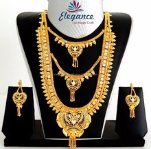 Gold plated long rani haar set-Wholesale Gold plated bridal jewelry-Imitation jewelry-south indian Bridal jewellery