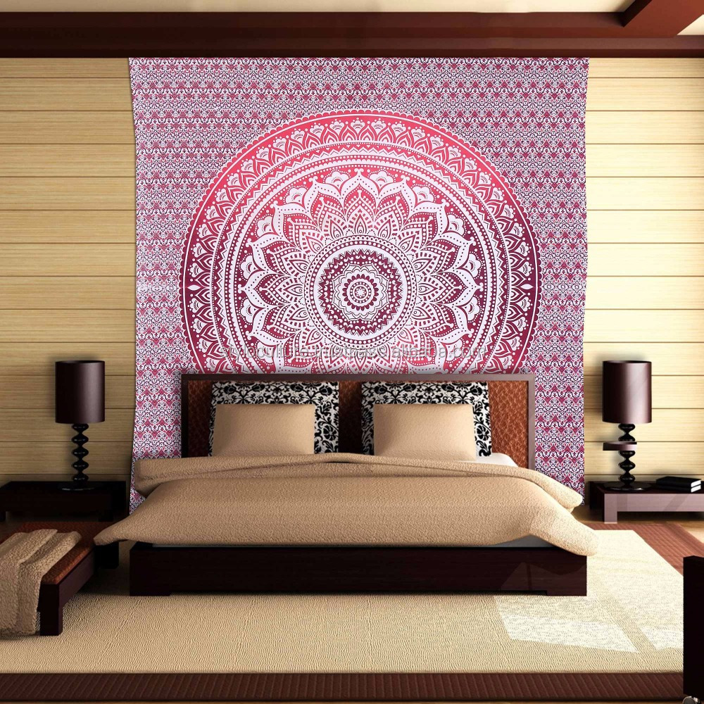 Cheap Indian Bohemian Printed Wholesale Ombre Mandala Wall Tapestry Blanket Beach Yoga Mat Carpet 100% Cotton Wall Tapestries