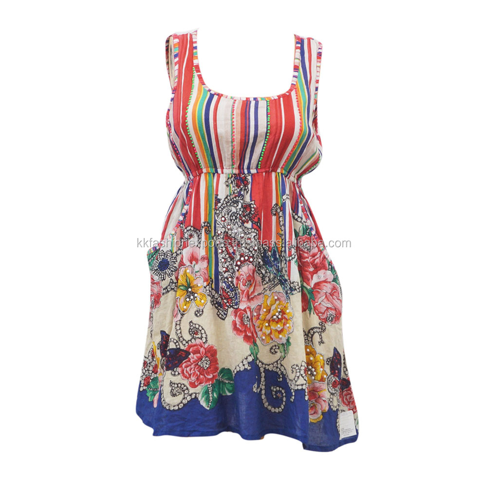 High Quality Multicolor Flower Printed Dress for Women