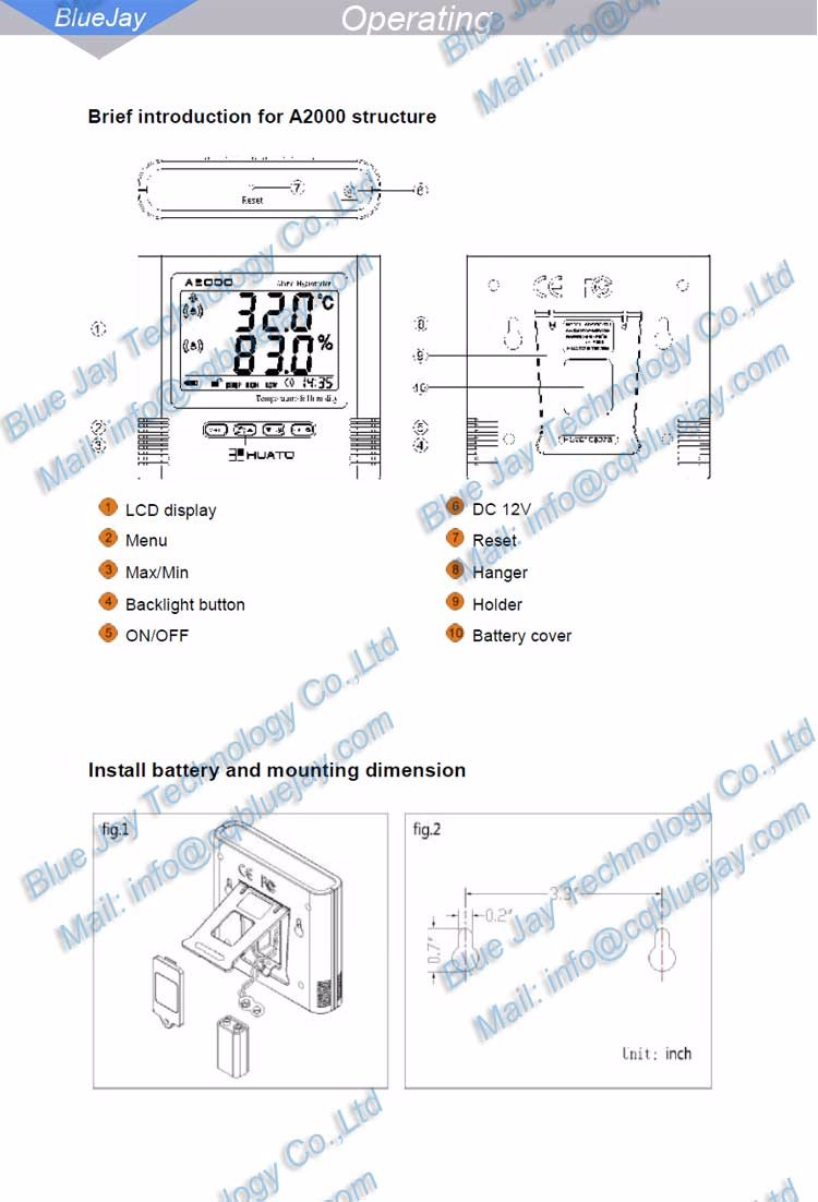 A2000-TS High Accuracy LCD Display Buzzer, LED Alarm Hygrometer&Thermometer