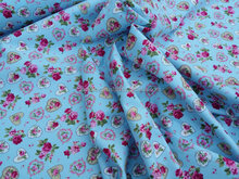 Beautiful Blue Cute hearts floral Roses fabric pure cotton poplin fabric Rose and Hubble new born babies quilt covers