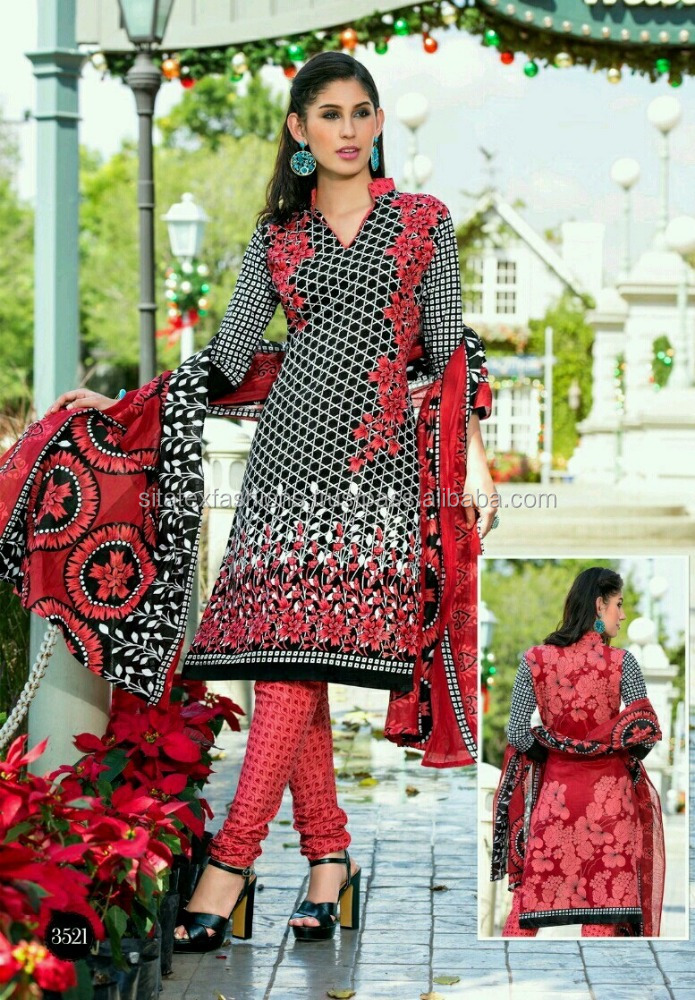 Black and Pink Readymade Printed Suits (Pure Cotton )