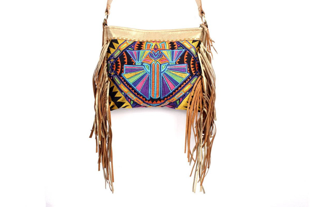 Sublime Cross Body With A Yellow Deco Jaw Embroidered Pattern, Adorned With Gold Leather Tassel