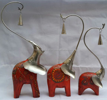 IRON/WOODEN PAINTED ELEPHANT SET OF 3 HANGING BELL IN TRUNCK