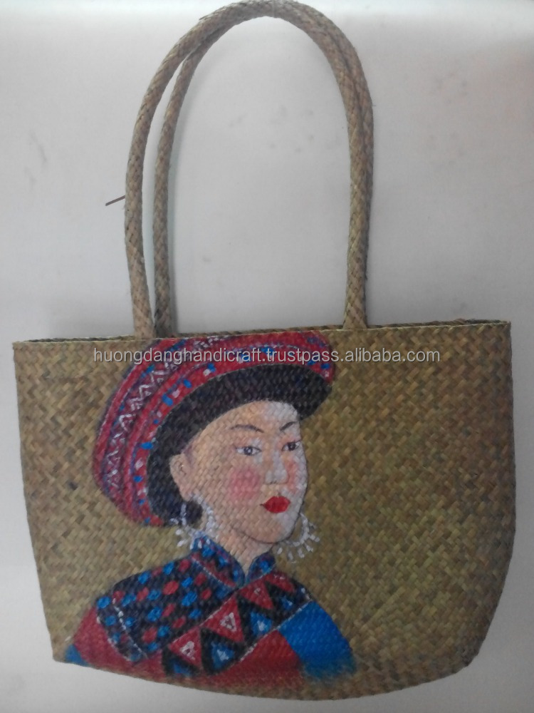Unique style sedge handbag with hand painted, lowest price bag from Hanoi, Vietnam
