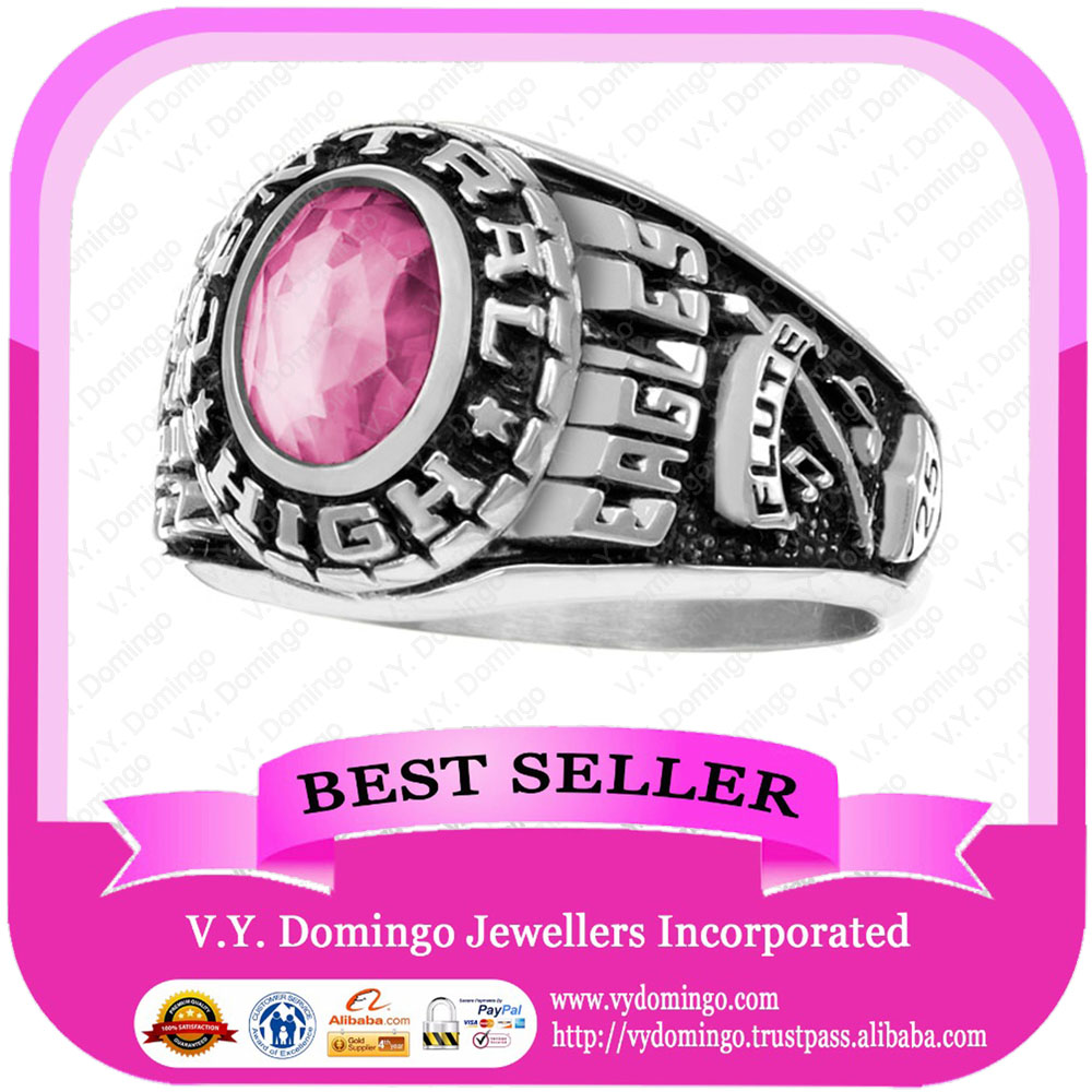 Pure Sterling Silver 925 Wholesale Collage Ring with Rose Zircon Class Ring