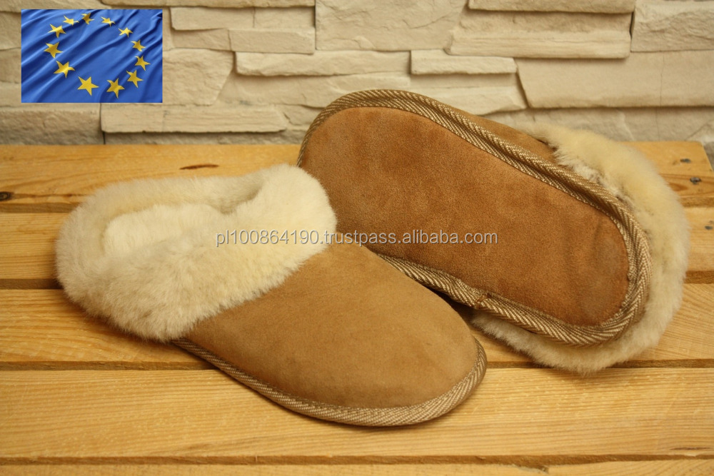 NATURAL Leather slippers Merino SHEEPSKIN FUR indoor shoes OEM Service